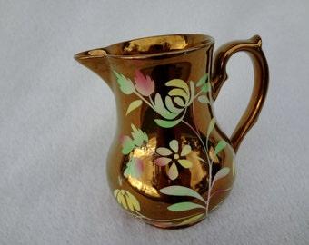 Vintage Wade England Copper Lustre Floral Pitcher