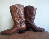 Vintage leather cowboy boots mens Red Wing Pecos 1970s vintage size 9 D Pecos stitched upper cut heel excellent condition