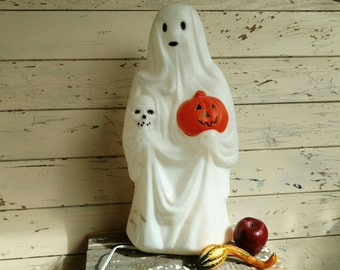 Retro Tall Lighted Spooky Ghost Yard Art - Vintage Autumnal Porch Decorations, Trick or Treat Home Decor, Fall Blow Mold Ghost + Pumpkin