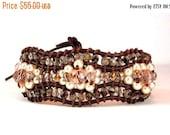 Clearance Sale Wrap Bracelet - Greek Leather Cord,  Crystal Bracelet, Pearl Bracelet,  Cuff Bracelet - Button Clasp