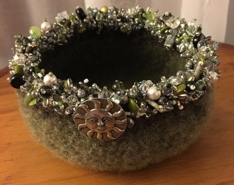 Green Felted Bowl embellished with beads