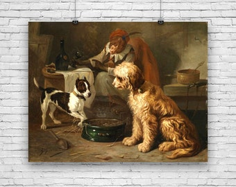 Dogs Having a Meal in Tavern with Monkey in Background 1890 Art Print