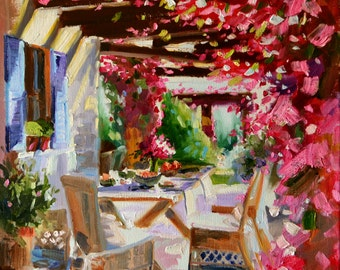Downloadable print, BOUGAINVILLEA, of original Oil Painting, pink and purple, still life, pergola, garden setting, instant download