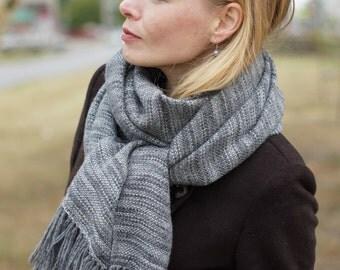 handwoven wrap merino alpaca wool scarf for her rustic woodland gray