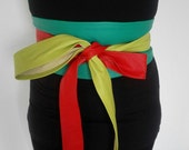 XX- Long Genuine leather Patchwork Obi belt, bright colours, corset belt, waist cincher, wide waist belt, wrap on belt, waist ceinture.