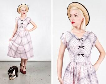 Vintage 1950s Pink Midcentury Judy Palmer Rhinestone Plaid Dress