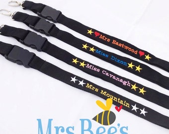 Teacher Lanyard - Personalized lanyards, custom lanyard, embroidered lanyard, ID lanyard, teacher gifts, teacher lanyards, personalised ID