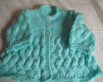 hand knitted baby matinee coat  3-6 months in King Cole DK Wool in mint green