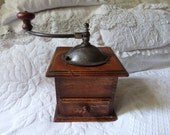 Antique French coffee grinder wood coffee mill wooden coffee grinder in working order, French kitchenware country cottage home decor