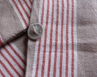 Vintage ticking mattress eiderdown duvet cover case w cushion pillow cases covers, French red striped ticking fabric striped mattress toile