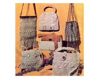 1970s Macrame Design Book Accessories Hippie Boho Pattern Book Purses Shoulder Bags Belts Handbags How To Knot Macrame Vintage Craft