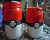 Pokemon Jars, Mason Jar Decor, Geek Decor, Pokeball Jars, as a Set or Single