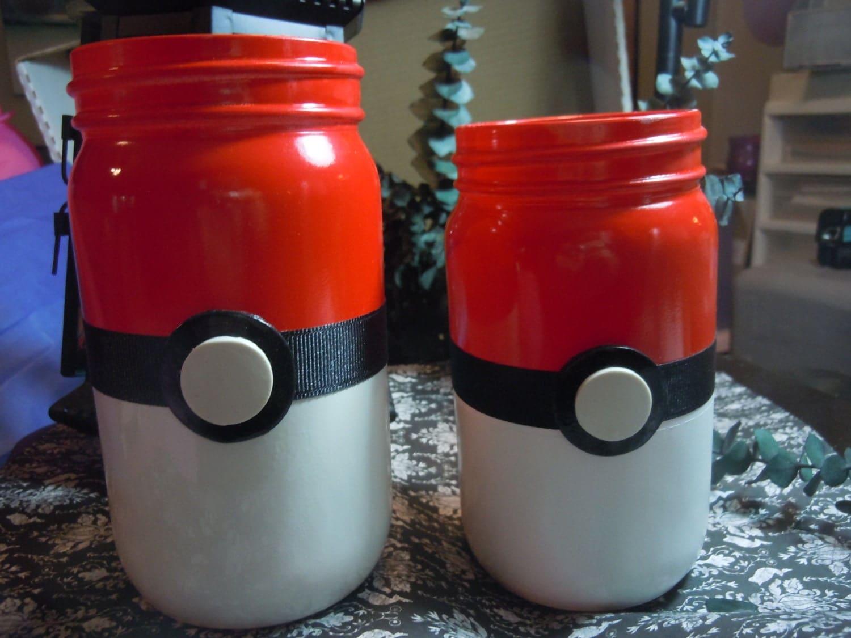 pokemon jars mason jar decor geek decor pokeball jars as a. Black Bedroom Furniture Sets. Home Design Ideas