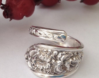 "Sterling Silver Spoon Ring, Spoon Jewelry ""Corsage"" pattern by Steiff"