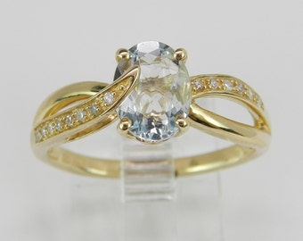 Diamond and Aquamarine Engagement Promise Ring Yellow Gold Aqua Size 7.25 March Gem