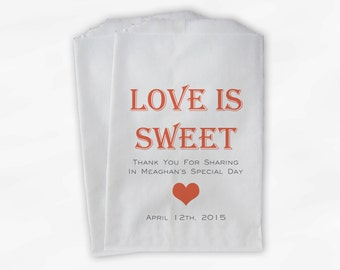 Love Is Sweet Candy Buffet Treat Bags - Personalized Bridal Shower Favor Bags in Coral - 25 Custom Paper Bags (0167)