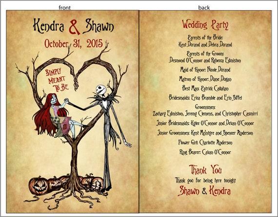 PROGRAMS Style 2 - Set of Vintage Fall Autumn Halloween Spooky Burton Style Wedding Programs - 75 cents each