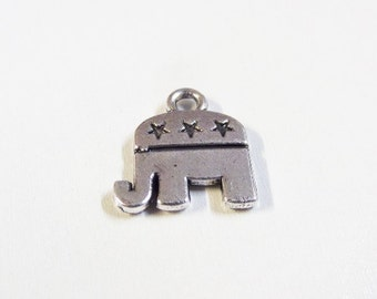 5CT. Republican Inspired Patriotic Elephant Charms, (Y26)