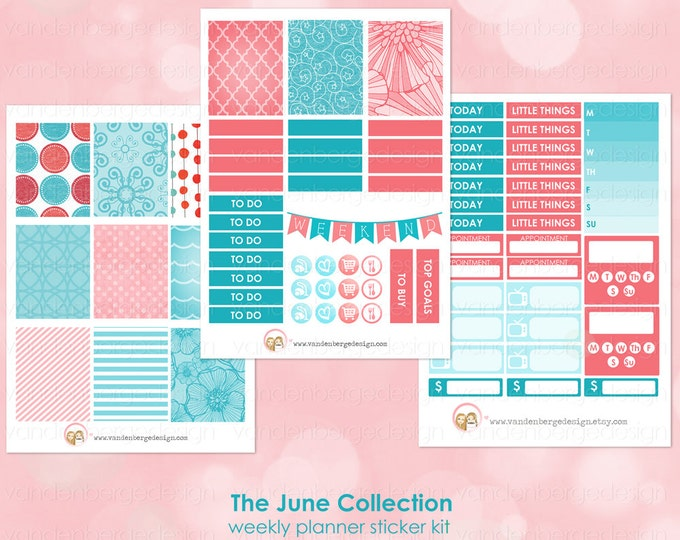The June Collection- Weekly Planner Sticker Kit for Erin Condren Life Planner or The MAMBI Happy Planner