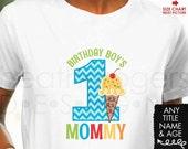 Ice Cream Birthday Shirt for Parents - Boy's Ice Cream Birthday - Birthday Boy's Mommy Shirt or Birthday Boy's Daddy Shirt