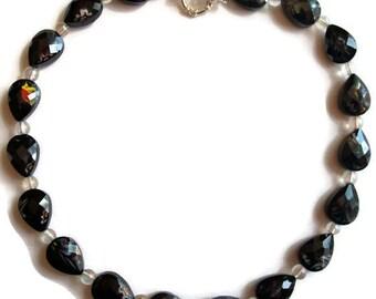 Black glass bead / teardrop Necklace