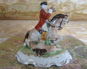 Victorian Era Hunter Figurine on Horse