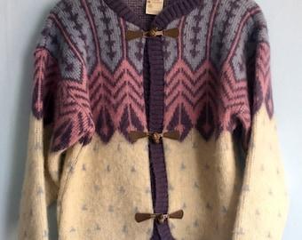 Vintage Sweater Icelandic Cardigan sz S/M