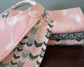 Modern Burp Cloths - Baby Girl Burp Cloths - Girl Bibs - Deer Head - Chevron - Damask - Pink and Gray - Baby Girl Gift Set