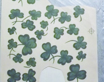 Vintage Water Mount Decals - St. Patricks Day Shamrocks - Set of 15 Various Small Sizes