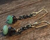 Blue Opal - Smokey Topaz - Earrings - Gemstone Rocker Chic - Oxidized Sterling Silver Artisan Urban Jewelry