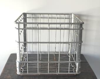 Vintage Borden Metal Milk Crate