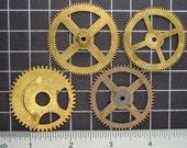 Mixed Lot of 4 Brass Clock Gears, Antique Clock Mechanism Gears, Vintage Clockwork Wheels, Cogs Steampunk Art Supplies 03991
