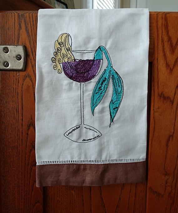Mermaid Guest Towels: Mermaid Embroidered Towel Embroidered Mermaid In A Wine