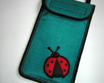 Cell Phone Cover neck / crossbody iPhone 6 Plus Case Large Smartphone Wallet Phone Purse stylish pouch Handmade pocket Turquoise ladybug