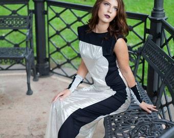Futuristic black silver long dress futuristic maxi dress minimalist clothing geometric modern dress,Women's Clothing,long party dress