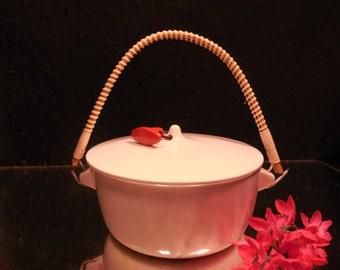 TACKETT SCHMID WHITE Porcelain 1958 Lidded Handled Dish Bowl Pot
