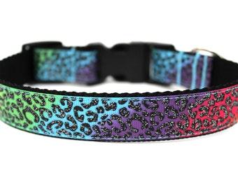 "Colorful Dog Collar 1"" Leopard Print Dog Collar SIZE SMALL"