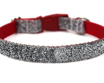 """Silver Glitter Dog Collar 3/4"""" Christmas Dog Collar SIZE MEDIUM Ready to Ship Dog Collar"""