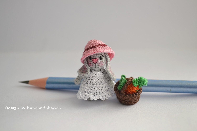 Tiny Amigurumi Doll : Miniature bunny doll amigurumi crochet tiny