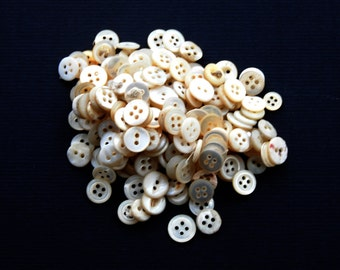 Vintage Mother of Pearl White Buttons 200 Crafts Collectible Sewing