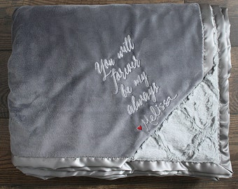 Embroidered Minky Blanket, wedding gift, adult minky, gift for husband, valentines gift, personalized blanket, anniversary, grey blanket