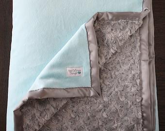 Minky Blanket, baby girl, blanket for girl, aqua and grey, baby girl gift, baby shower, grey and teal, Lattice Ruffle Blanket, aqua and grey