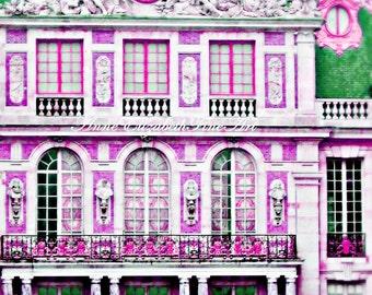 Paris Photography, Versailles, Preppy Pink Wall Art, Paris Nursery Theme, Dorm Decor, Parisian, Marie Antoinette, Pink & Green, Fashion Art