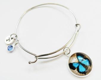 Butterfly Charm Bracelet, Butterfly Charm Bangle, Personalized, Initial, Birthstone Bracelet, Butterfly Jewelry, Silver Wire Bangle