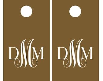 Wedding Monogram Vinyl Decal Set for Cornhole   Wedding Cornhole   Rustic Wedding