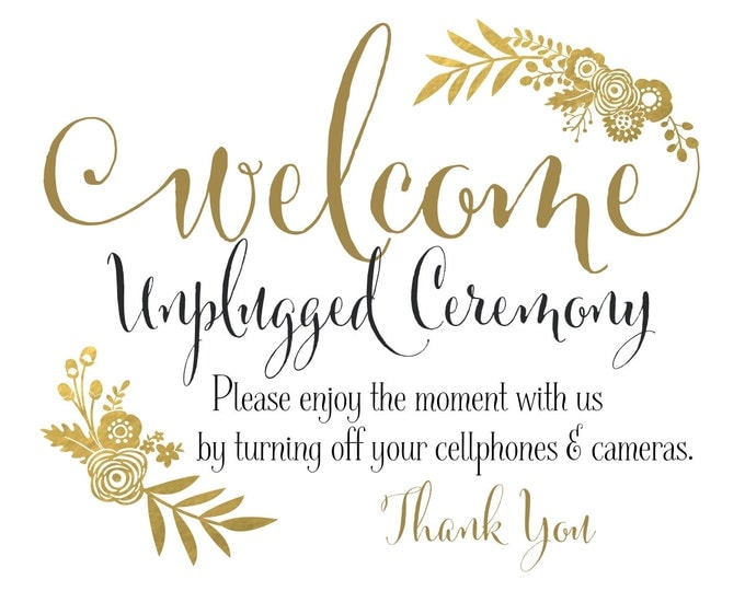 Unplugged Ceremony Sign | DIY PRINTABLE | Unplugged Wedding