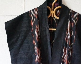 Vintage Black Wrap, Vest, Silk, Two Pockets, Free Size
