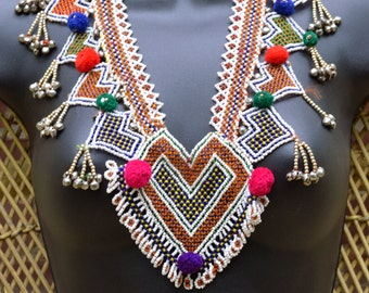 Vintage Kuchi Beaded Bodice Panel Necklace Boho Gypsy Hippie Festival Wear Tribal Belly Dance Uber Kuchi®