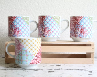 Vintage Quilt Patchwork Pattern Petite Mugs, Set of 4, Espresso