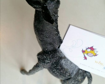 Giraffe Business Card Holder in Gloss Black and Stone Texture